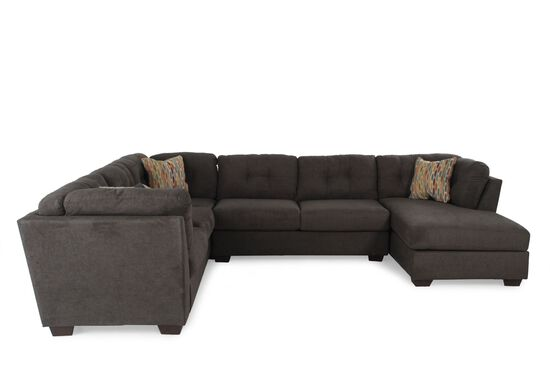 Three-Piece Microfiber Sectional in Chocolate Brown