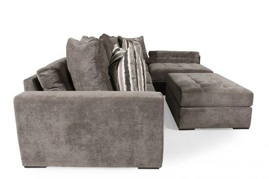 Contemporary Tufted Sectional in Muted Gray