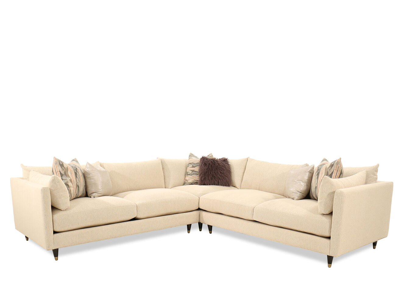 Three piece microfiber 78quot sectional in beige mathis for 3 piece microfiber recliner sectional sofa