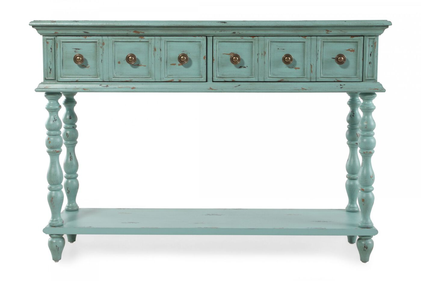 Paneled front contemporary console table in teal mathis for Sofa table vs console table