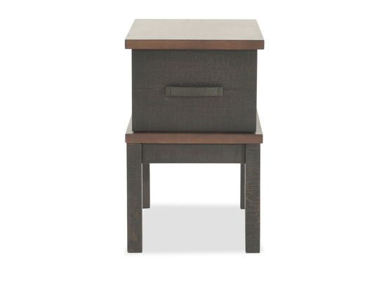 Casual Chairside Table with USB Port in Dark Gray