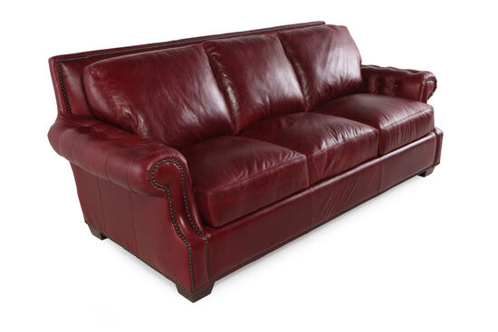 "Traditional Leather 93"" Sofa in Marsala Red"
