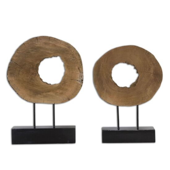 Two-Piece Geometric Sculptures in Brown
