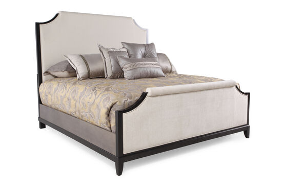 """67"""" Contemporary Notched Panel Bed in Platinum"""