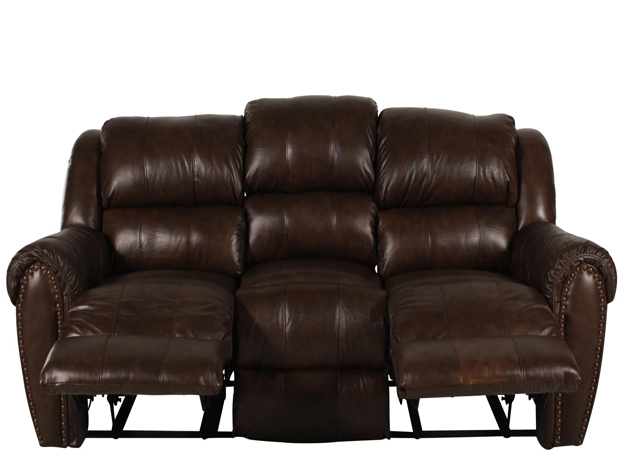 Traditional Nailhead Accented 89u0026quot; Reclining Sofa ...
