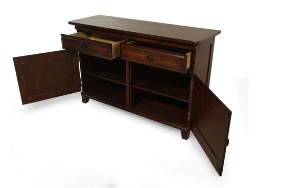 "Traditional 55"" Two Drawer Buffet in Dark Brown"