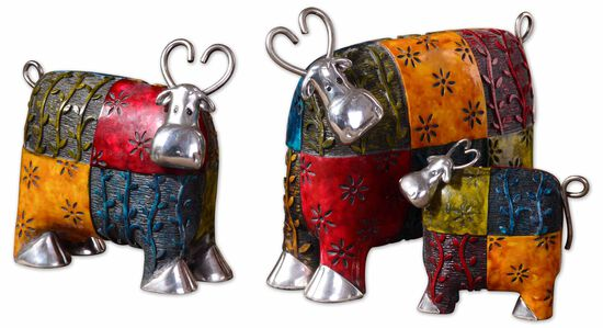 Three-Piece Colorful Cows Metal Figurines