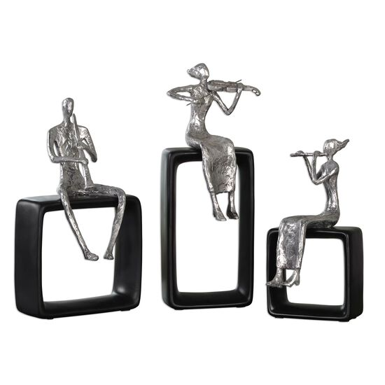 Three-Piece Musical Ensemble Statues in Silver