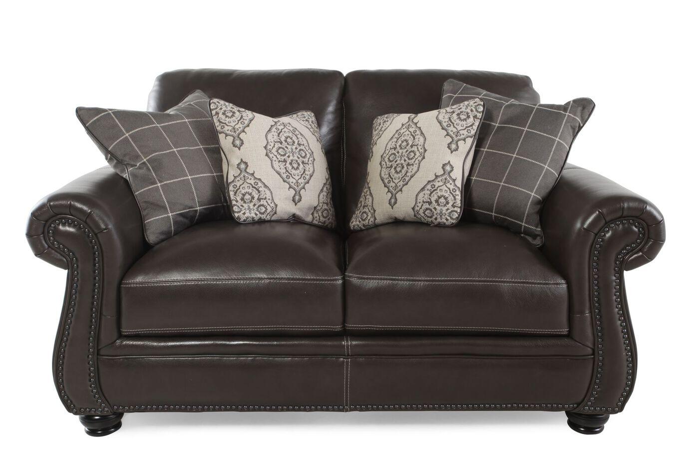 Nailhead Trimmed Leather 64 Loveseat In Dark Brown Mathis  ~ Dark Brown Sofa And Loveseat