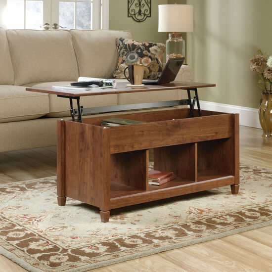 Rectangular Lift-Top Contemporary Coffee Table in Auburn Cherry