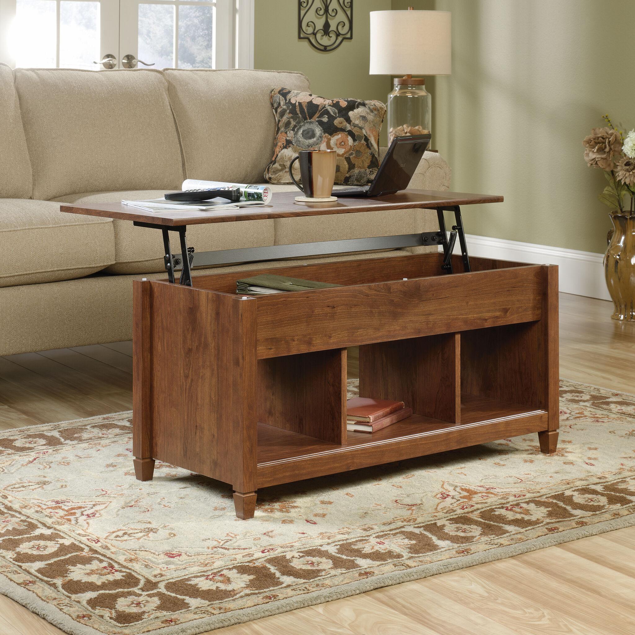 Rectangular Lift Top Contemporary Coffee Tableu0026nbsp;in Auburn Cherry