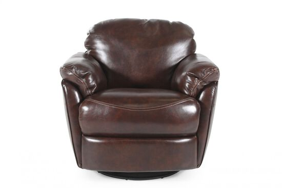 """Casual Leather 37"""" Swivel Chair in Coffee"""