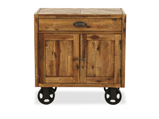 "29"" Country Nightstand with Casters in Brown"
