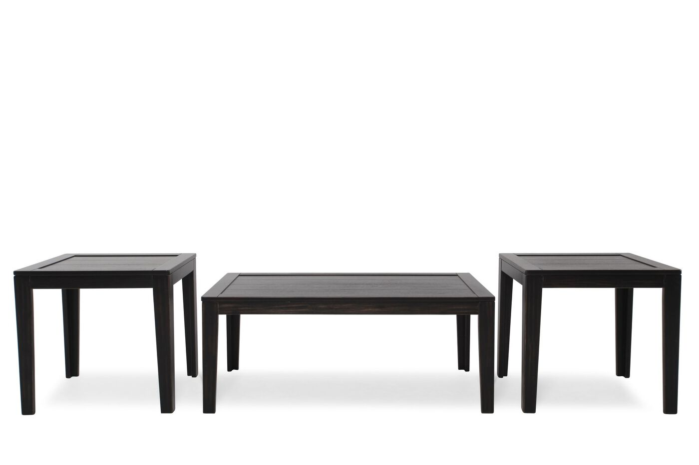 Three piece contemporary occasional table set in dark for Three piece living room table set