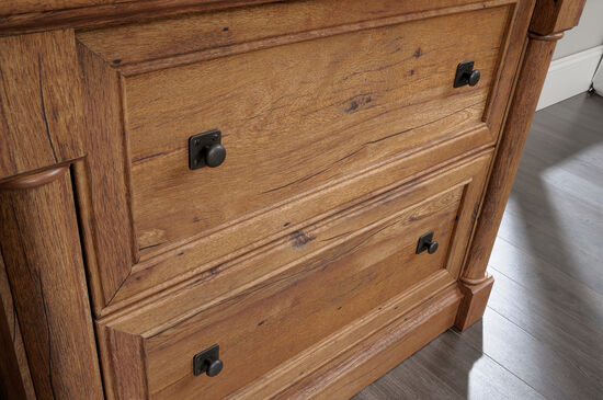 Two-Pilaster Contemporary Lateral File in Vintage Oak