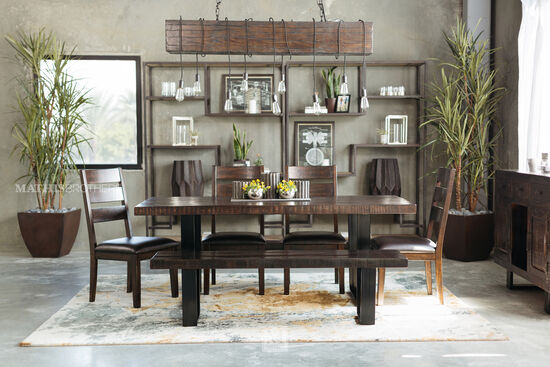 "Mid-Century Modern 38"" Rectangular Dining Table in Dark Brown"