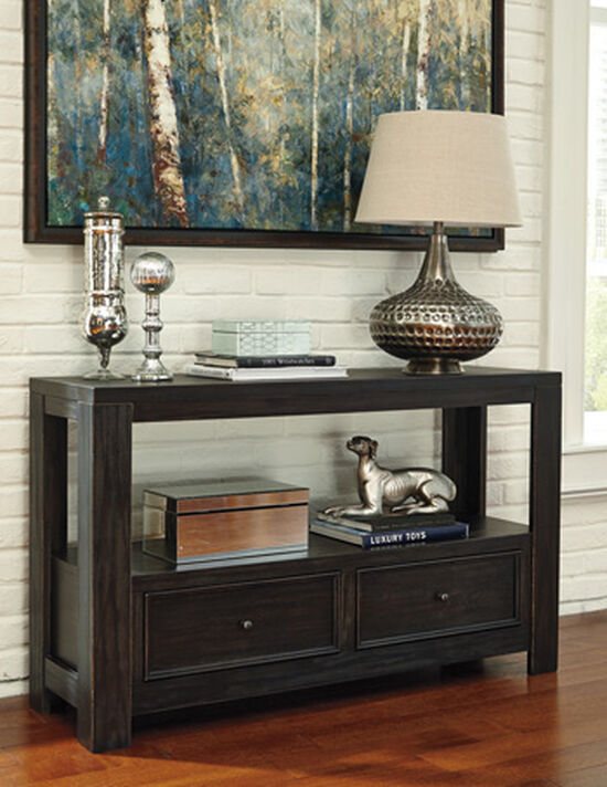 Two-Drawer Casual Sofa Table in Black