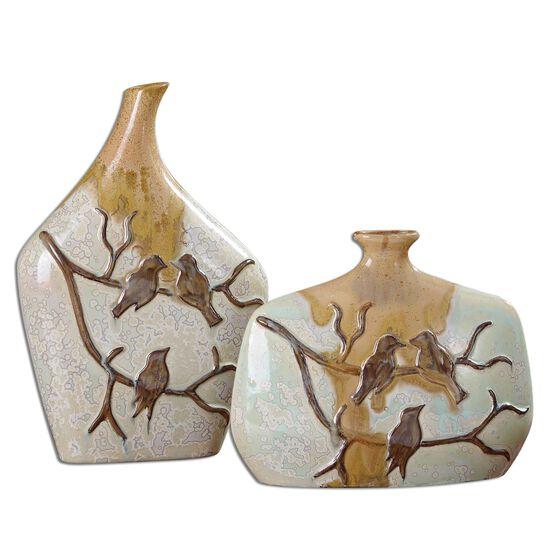 Two-Piece Bird-Detailed Vases