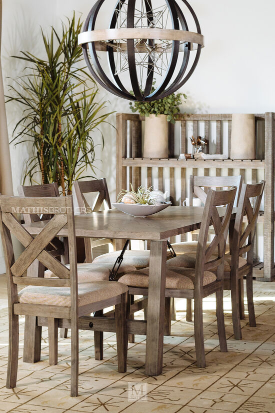 Seven-Piece Industrial Dining Set in Warm Brown
