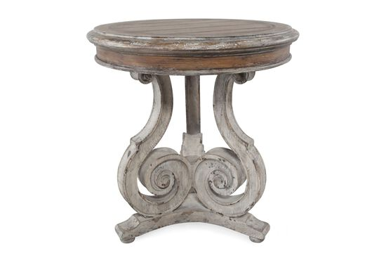 Traditional Scroll Accent Table in Light Wood