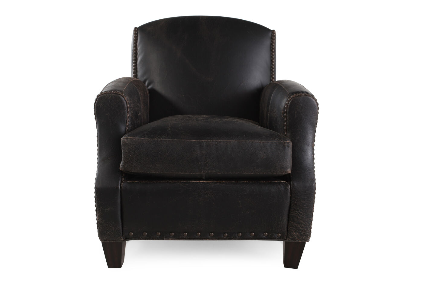Nailhead trimmed leather 35 chair in black mathis for Furniture 35