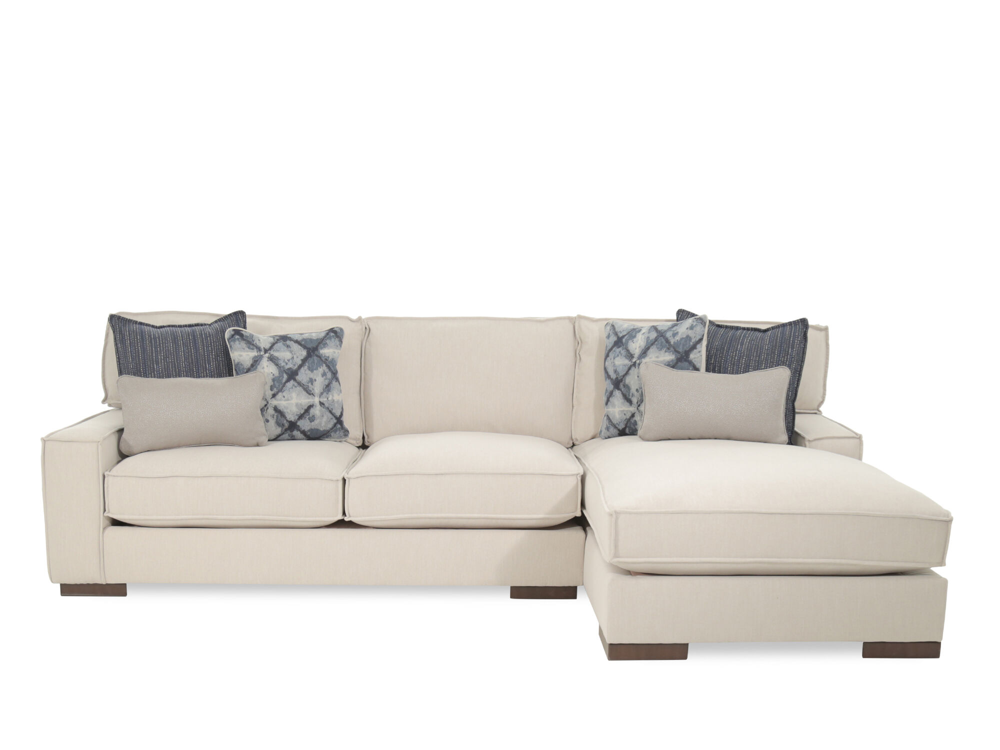 Two Piece Bohemian Eclectic 124u0026quot; Sectional In Beige