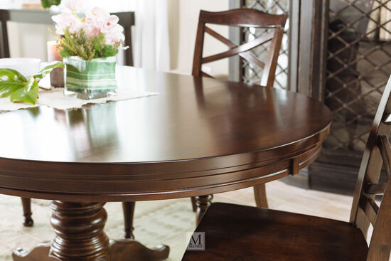 "48"" to 72"" Oval Pedestal Dining Table in Burnished Brown"