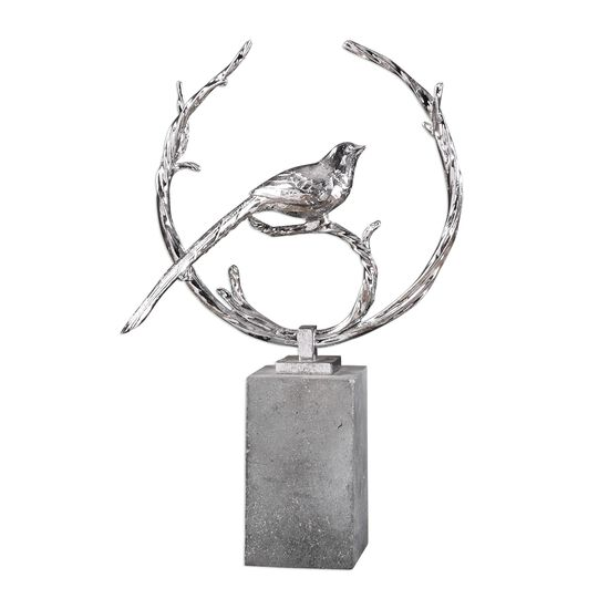 Textured Bird Sculpture in Silver