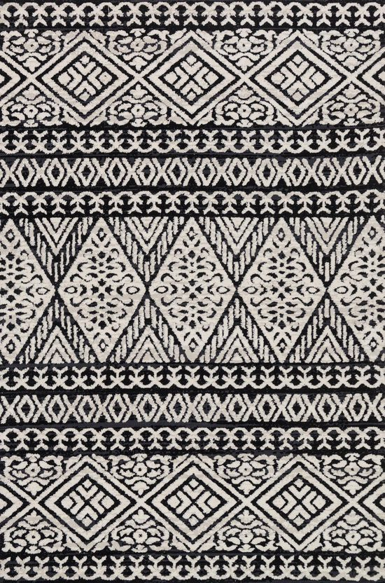 """Contemporary 1'-6""""x1'-6"""" Square Rug in Black/Silver"""