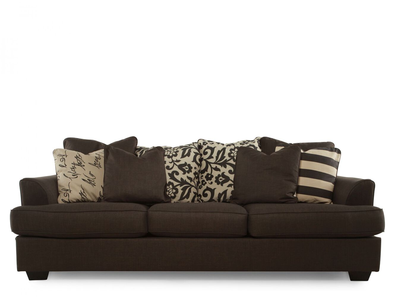 Low profile casual 96 sofa in charcoal mathis brothers for Casual couch