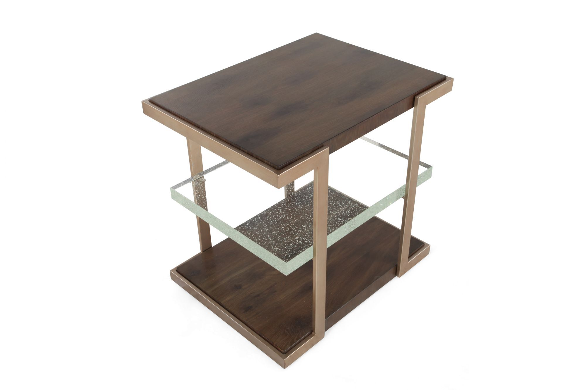 Square Contemporary End Tableu0026nbsp;in Medium Brown