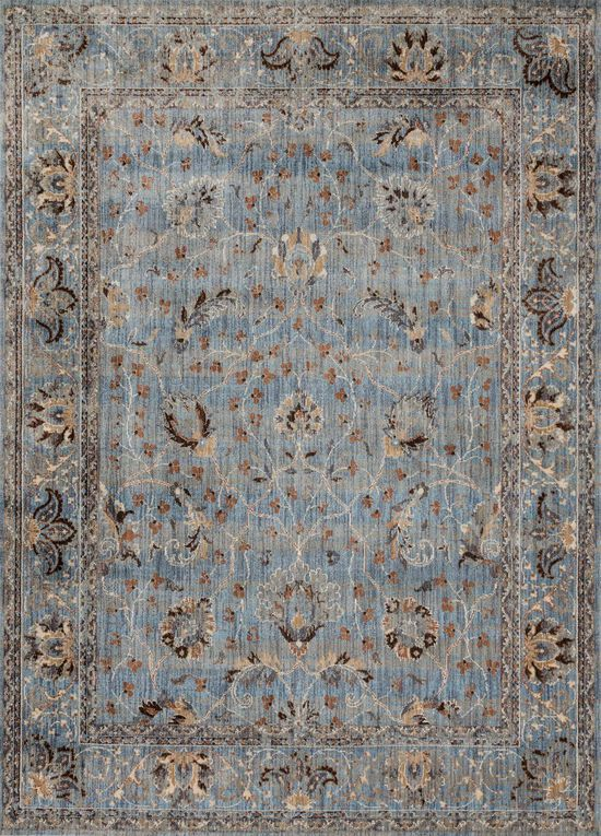 """Contemporary 1'-6""""x1'-6"""" Square Rug in Lt. Blue/Clay"""