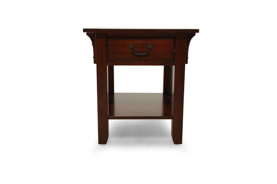 Weathered Square Mission End Table in Dark Oak