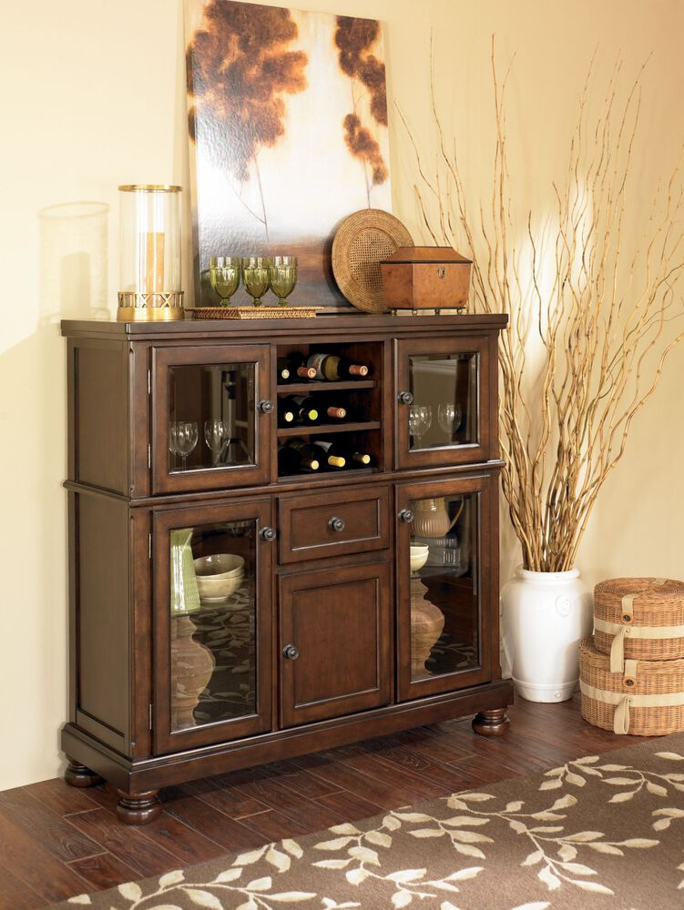 Images Four Glass Door 52quot Server In Burnished Brown