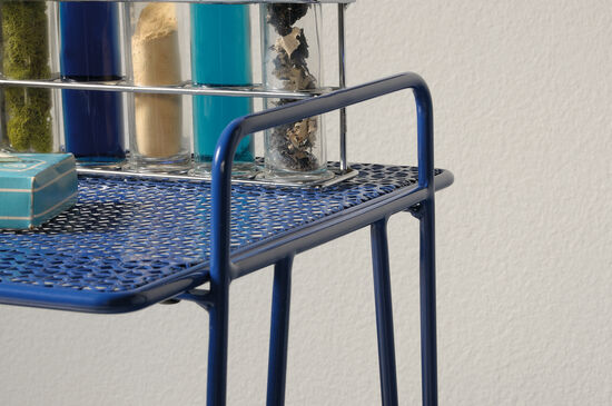 Perforated Shelves Contemporary Accent Table in Blue
