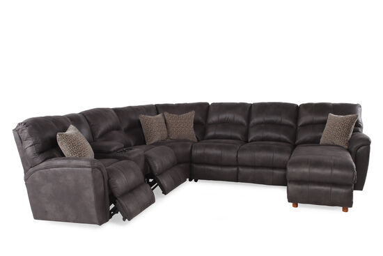 "Microfiber 118"" Power Reclining Sectional in Gray"