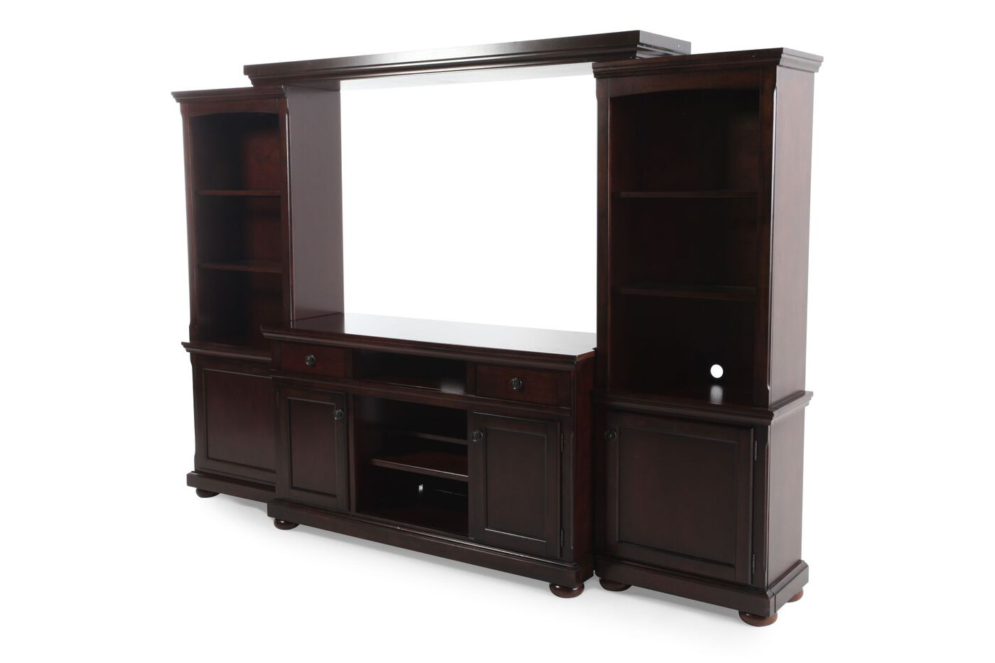Lighted Piers Traditional Wall Unit In Burnished Brown