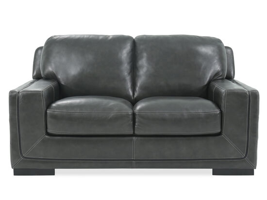 "Traditional Leather 69"" Loveseat in Pewter Gray"