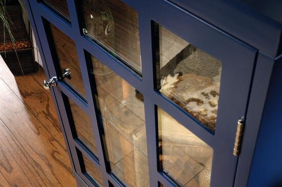 30'' Glass Door Contemporary Display Cabinet in Indigo Blue
