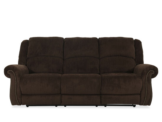 """Nailhead-Accented 90"""" Power Reclining Sofa in Brown"""
