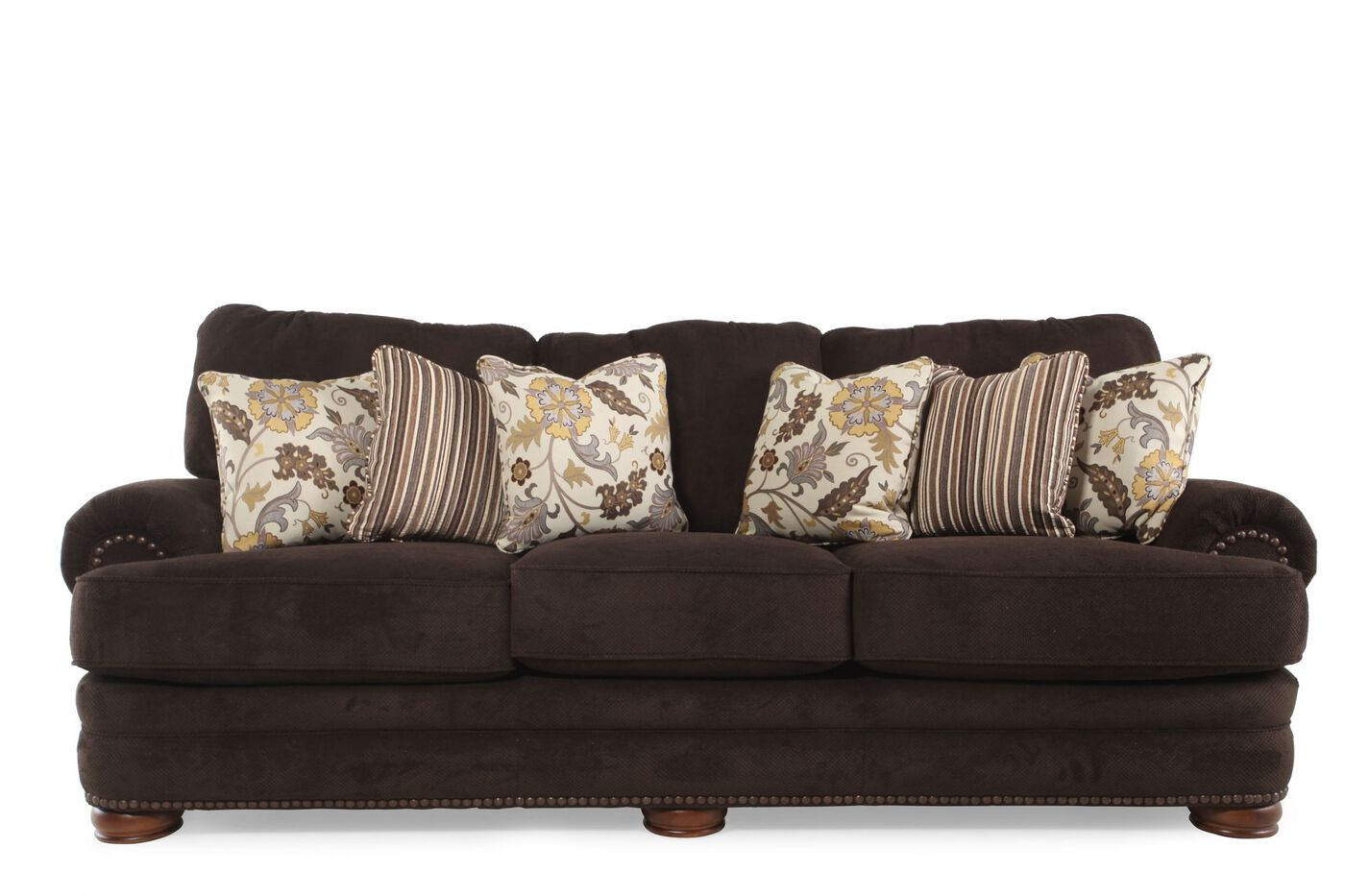Nailhead Accented 103 Rolled Arm Sofa In Chocolate