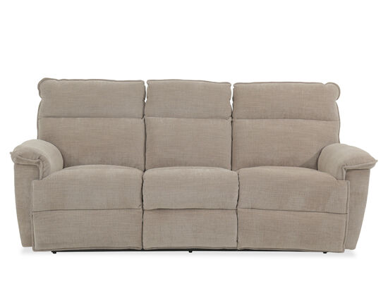 """Transitional 86.5"""" Reclining Sofa in Light Brown"""