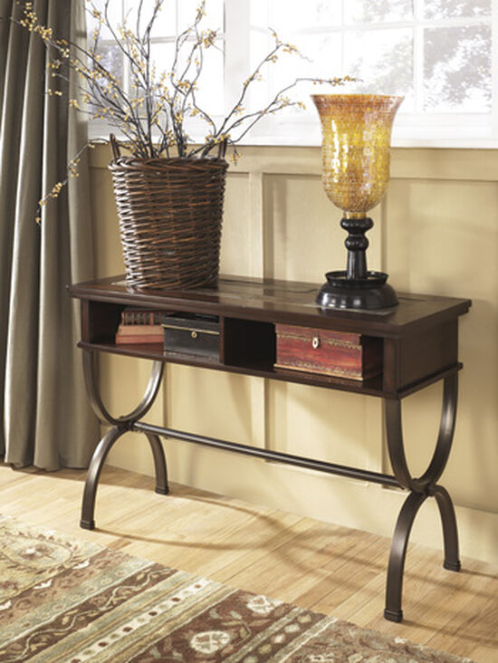 Inlaid Top Traditional Console Sofa Table in Medium Brown