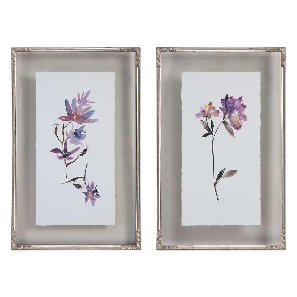 Two-Piece Watercolors Printed Framed Floral Wall Art Set