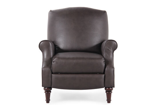 """Hide-a-Chaise Leather 35"""" Reclinerin Dark Brown"""