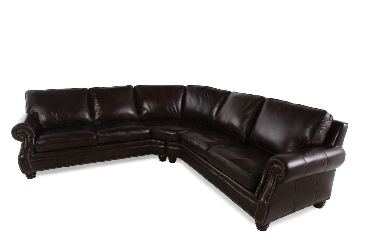 Two piece leather 232quot nailhead accented sectional in for 8 piece leather sectional sofa
