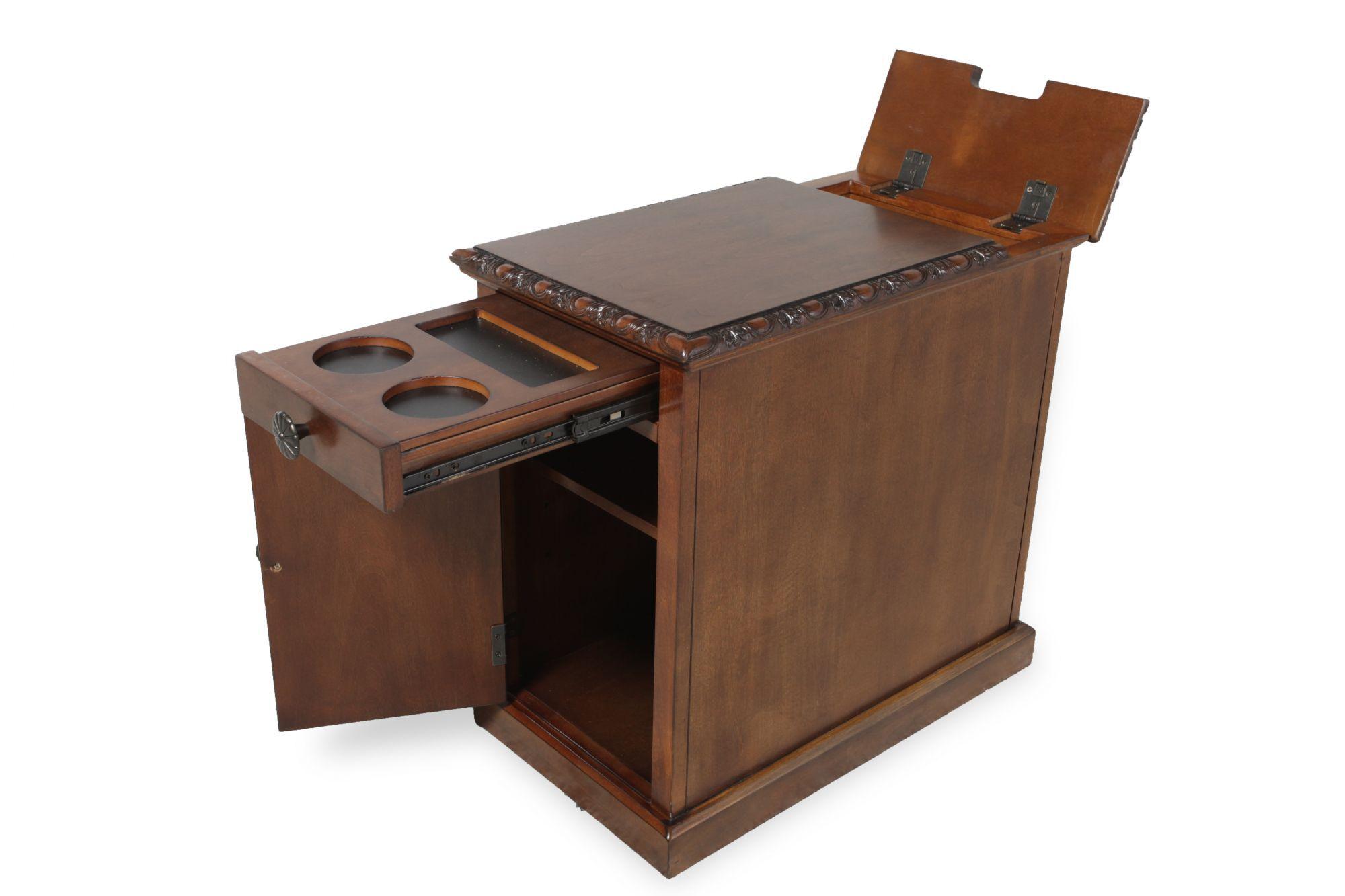 Good Rectangular Flip Top Contemporary Chairside Tableu0026nbsp;in Rich Brown