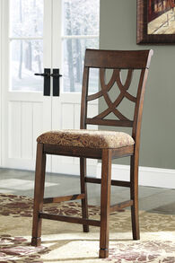 "Traditional 43"" Pierced Splat Back Bar Stool in Brown"