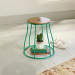 Serpentine-Base Solid Wood Stool/Side Tablein Green