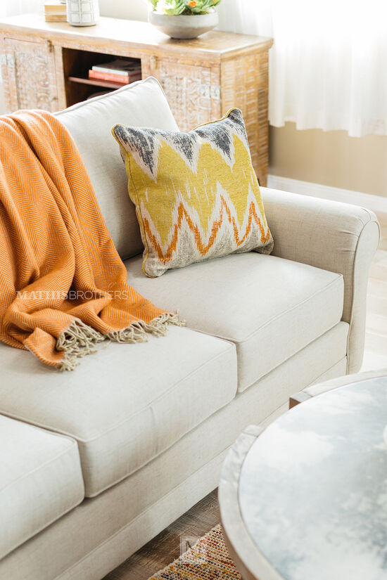 """Rolled Arm Casual 85"""" Sofa in Beige"""
